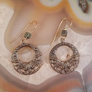 Bronze color drop designs round earrings GUC
